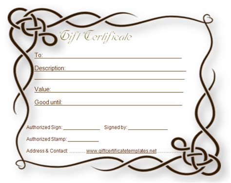 Blank Gift Certificate Template   White Gold