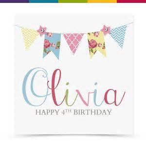 personalised handmade bunting birthday card female
