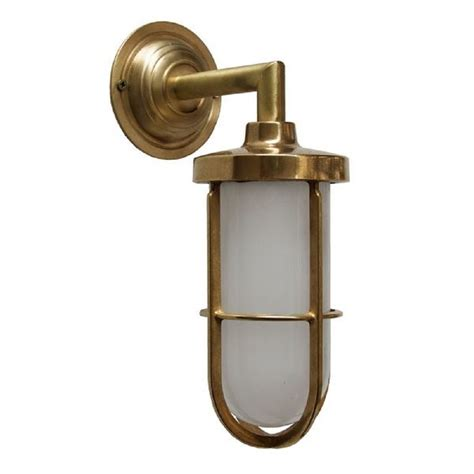 Industrial Style Outdoor Lighting Indoor Or Outdoor Nautical Wall Light In Satin Brass With Frosted Glass