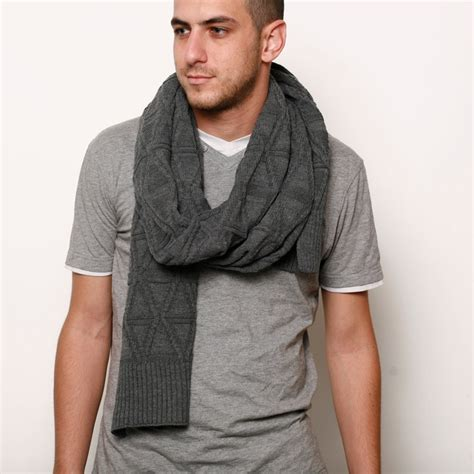 grey knitted wool scarf 60 00 via etsy