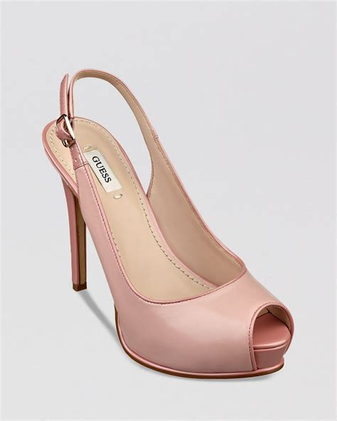 Brenda Open Toe Back Heels guess peep toe platform slingback pumps huela high heel in