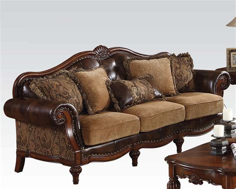 traditional style sofa acme furniture traditional style sofa w 5 pillows dreena