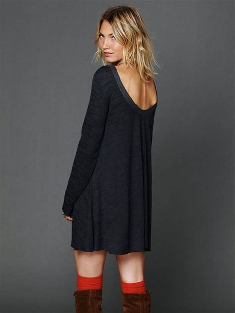 free people long sleeve swing dress free people long sleeve swing dress in blue navy lyst