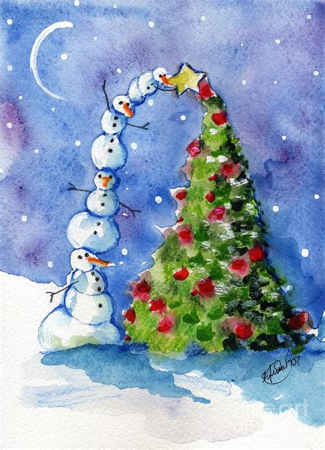 snowman christmas tree painting by sylvia pimental
