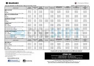 Price List Of Suzuki Cars Suzuki Singapore Printed Car Price List Oneshift