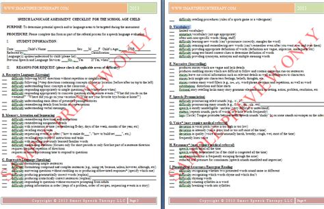 preschool speech language evaluation report template assessment report sle for preschool affordable price