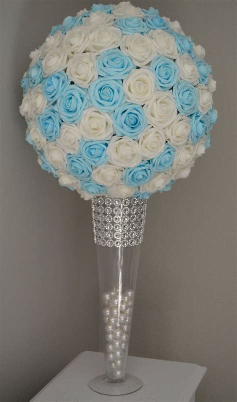 kissing ball with lights light blue white mix flower ball pomander by