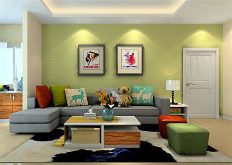 green living room bright green wall living room sofa 3d house green