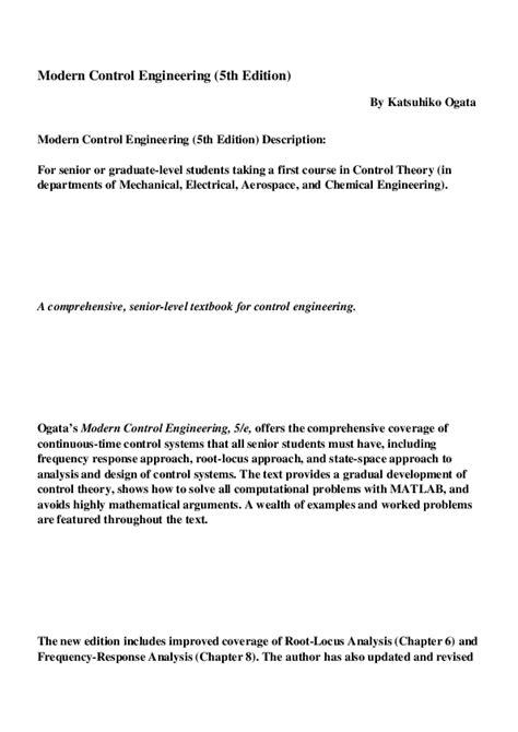 Pdf Modern Control Engineering 5th Edition Hyungo