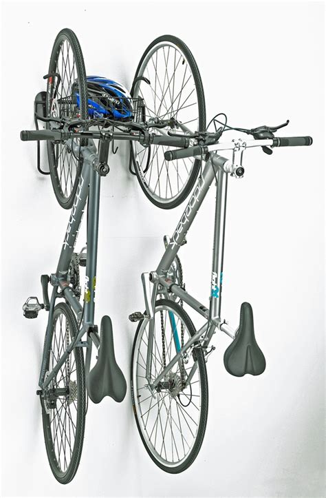 Removable Bike Rack by Gear Up Vertical Wall Mount Bike Storage Rack With Removable Basket 2 Bikes Gear Up Bike