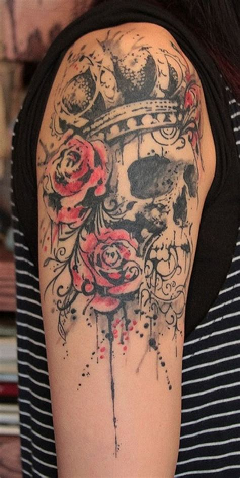 womens skull tattoos designs skull and flower designs for arm tattoos