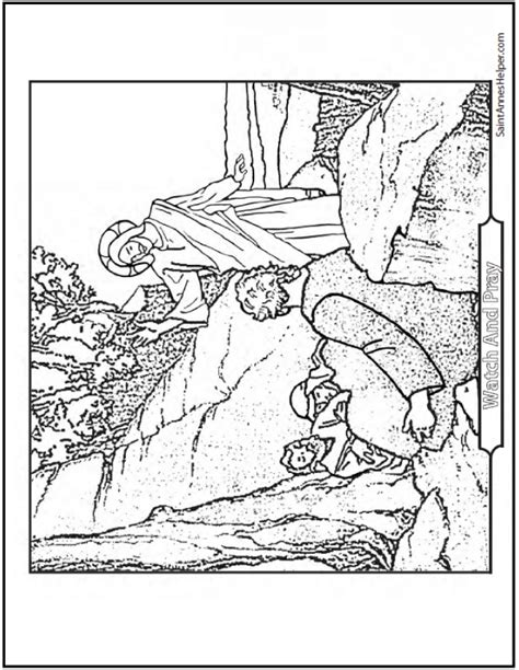 coloring pages jesus in the garden jesus waking the apostles coloring page