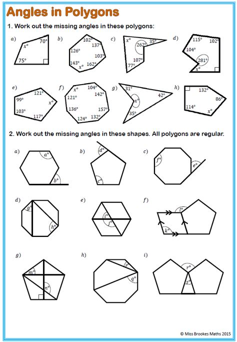 finding interior angles of a polygon worksheet printables interior and exterior angles of polygons