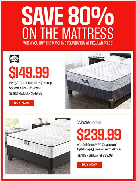Sears Mattresses Sale sears canada weekend deals save 80 on selected mattresses by sealy wholehome md canada