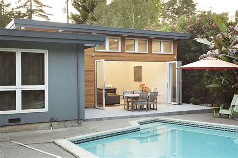 rear family room addition midcentury exterior san francisco  klopf architecture