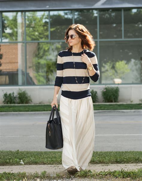 cozy striped sweater maxi skirt easy looks
