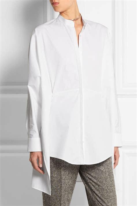 Poplin Shirt Blouse Blouse Korea Blouse Bangkok Fashion Bkk Import chalayan asymmetric split back cotton poplin shirt net