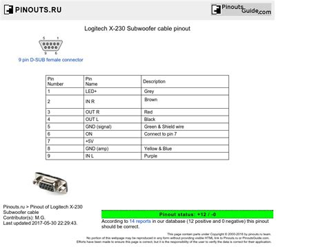 logitech x 230 subwoofer cable pinout diagram