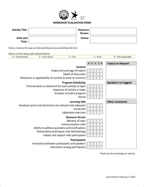 activity evaluation form template 16 activity evaluation form sles templates sle