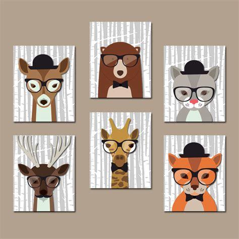 Animal Wall Decor For Nursery Woodland Animals Wall Baby Boy Nursery Canvas Or