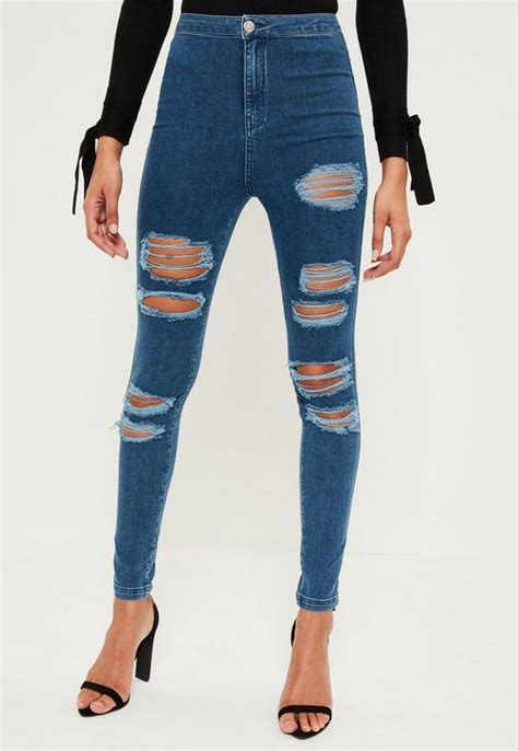 Highwaist Blue Ripped 342 blue vice high waisted ripped missguided