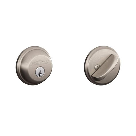 Door Knob With Deadbolt Built In by Schlage Single Cylinder Satin Nickel Deadbolt B60n 619