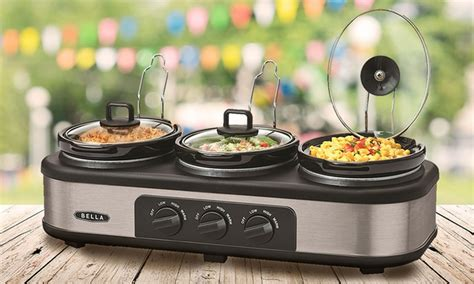 Bella Three Pot Slow Cooker Groupon Cooker Buffet And Serve