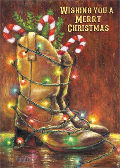 cowboy boots  lights vickie wade box   western christmas cards  lpg