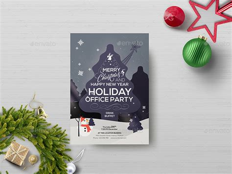 Office Holiday Party Flyer Template By Wutip2 Graphicriver Office Flyer Templates