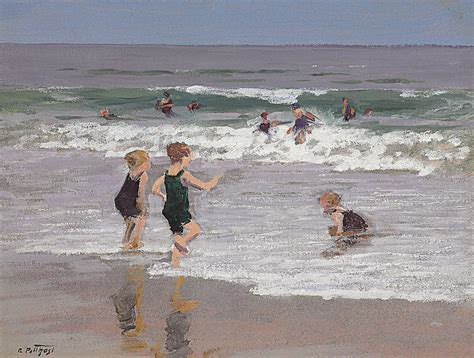 Surf Duvet Cover Children Playing In Surf Painting By Edward Henry Potthast