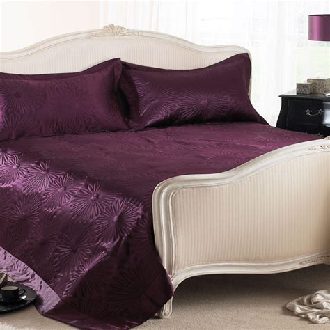 throws for bed aubergine daisy embossed satin bed throw blanket bed