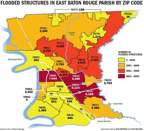 zip code map baton rouge which baton rouge zip codes were hit hardest new data