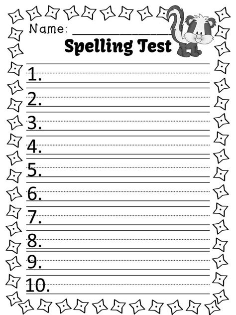 spelling test template 10 words classroom freebies fern smith s free spelling lists and