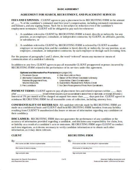 Headhunter Contract Template 8 Sle Independent Agreement Contracts Sle Templates