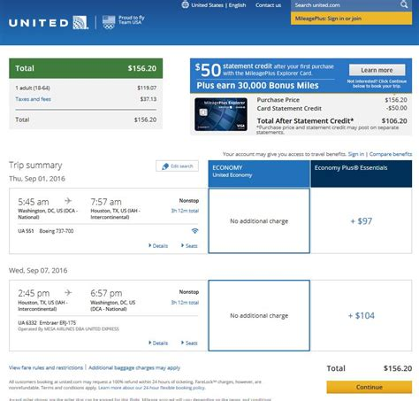 United Airlines Booking | 157 houston to from washington d c nonstop r t