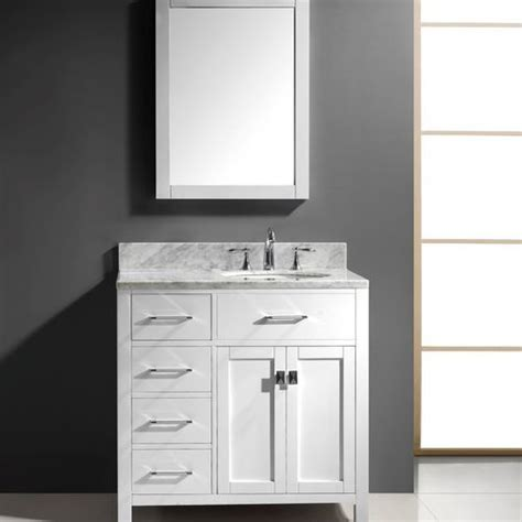 transitional 36 quot left drawers single sink bathroom vanity