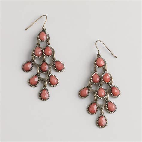 Coral Chandelier Earrings Coral Tiered Chandelier Earrings World Market