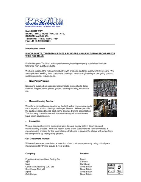 Introduction Letter Sle For Manufacturing Company Introduction Letter Precision Spares For Rolling Mills