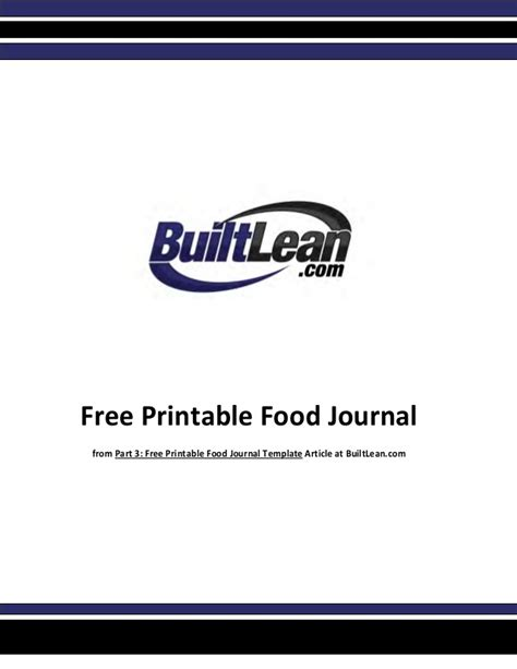 printable food journal builtlean free printable food diary template