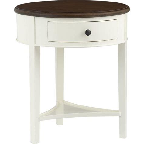 White Bedside Table With Wood Top Wood Top Single Drawer White Nightstand