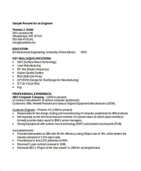 resume format for engineering student engineering resume template 32 free word documents
