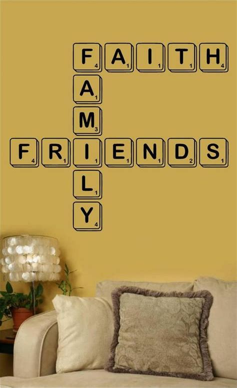 faith family friends scrabble vinyl wall decal word
