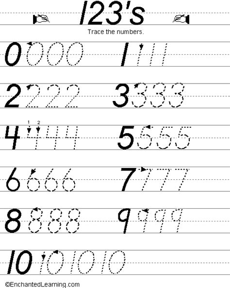 handwriting worksheets with numbers printable writing numbers d nealian style enchantedlearning com