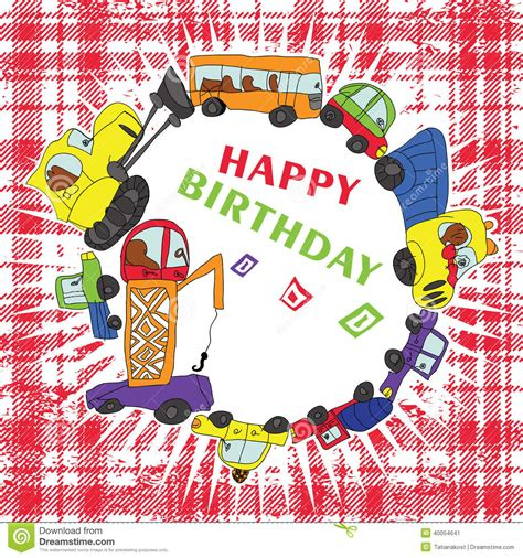 doodlebug happy cer child s draw cars doodle happy birthday stock