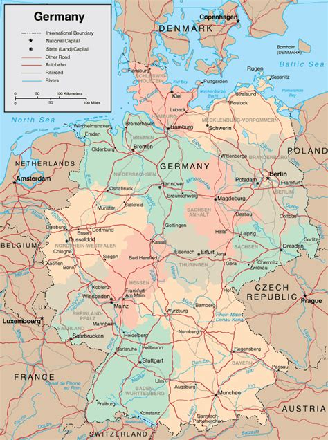 road map of germany maps of germany free printable maps