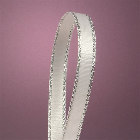 The Tali Ribon Bordier White white satin ribbon with silver border 14 x 50yd jgfxdgkjljhgh