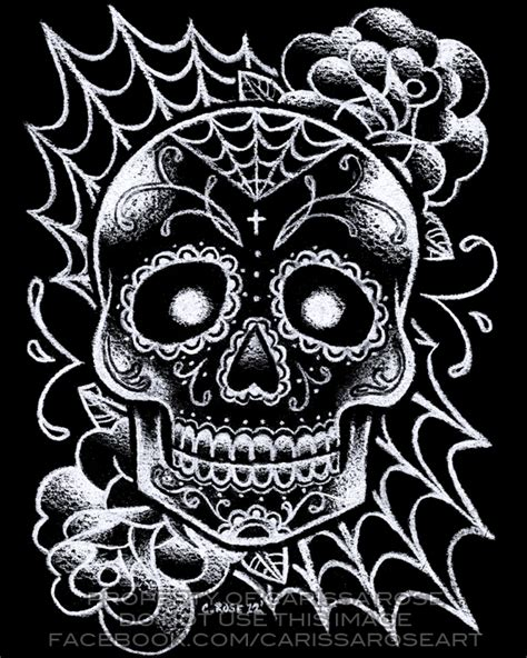 black and white skull tattoos black and white sugar skull flash by