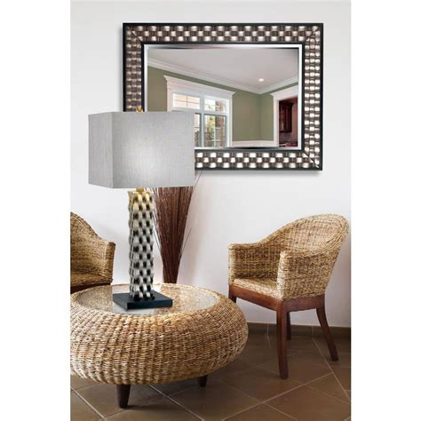 home decorators collection home decorators collection checker 38 in x 28 in wood framed mirror 60013 the home depot