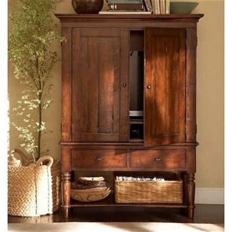 Living Room Armoires by Media Armoire Rustic Mahogany From Pottery Barn