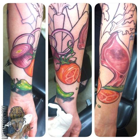 onion tattoo lnztattoos beginning of culinary sleeve culinary chef food